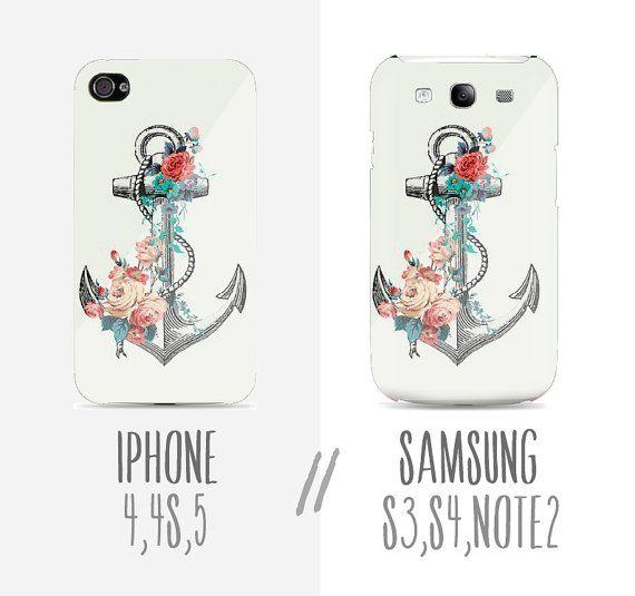 Sweet // Flower & draw Anchor Plastic white Hard Case - iphone 5 - iphone 4 - iphone 4s - Samsung S3 - Samsung S4 - Samsung Note 2