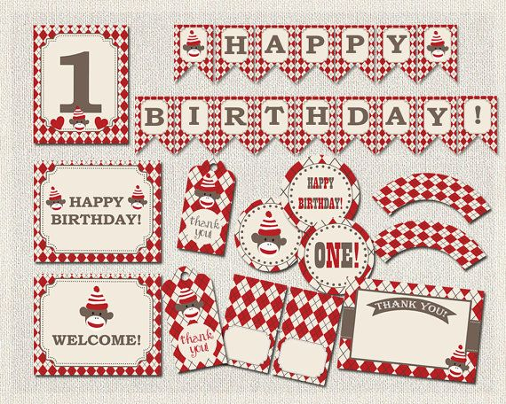 Sock Monkey Printable Party Package Red by PixiePerfectParties