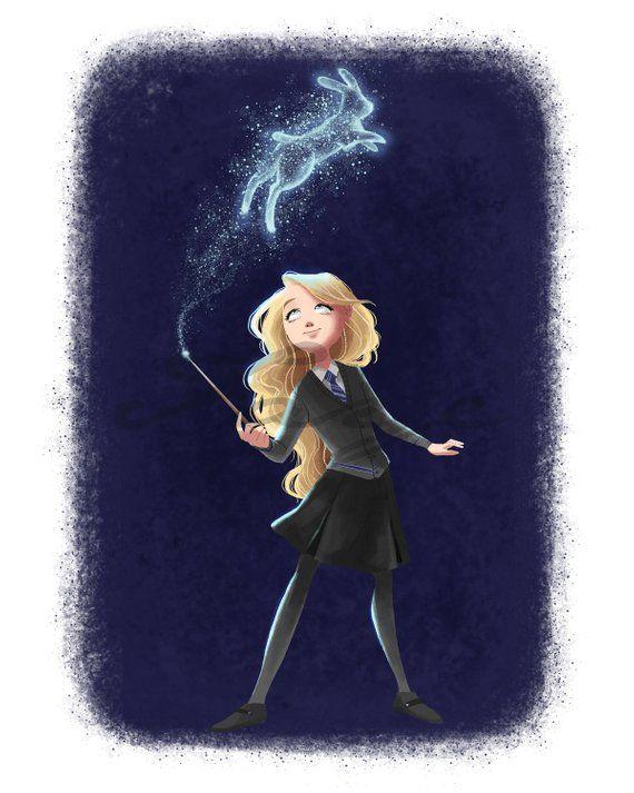 Luna Digital Drawing Harry Lovegood Potter Fan Art Giclee