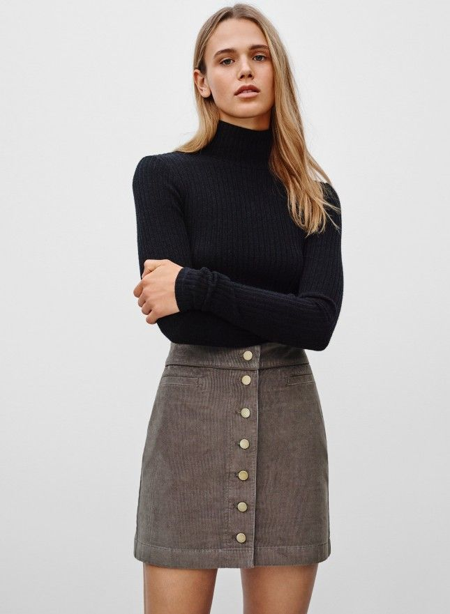 Step out in the cold with a corduroy button-front skirt.