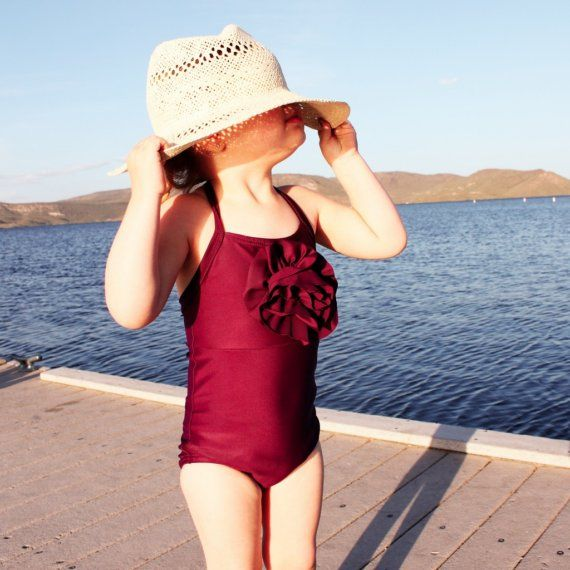 Plumberry Halter Swimsuit for toddler and girl READY by bitsybear, $38.00