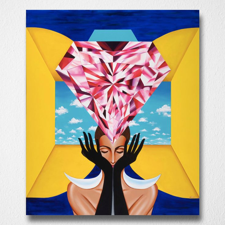 Portal of Empowerment (Canvas print) by Reena Ahluwalia. Starts from $345.00. #FancyColorDiamonds #DiamondPaintings #DiamondArt #ReenaAhluwalia #Diamonds #PinkDiamond #WomenEmpowerment #Empowerment