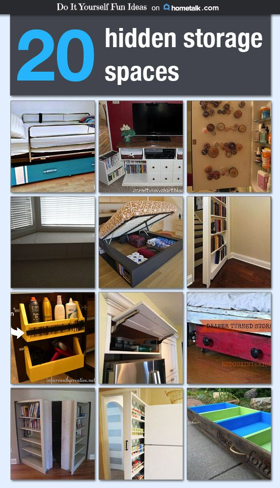20 hidden storage spaces idea box by diy fun ideas for Hidden storage ideas