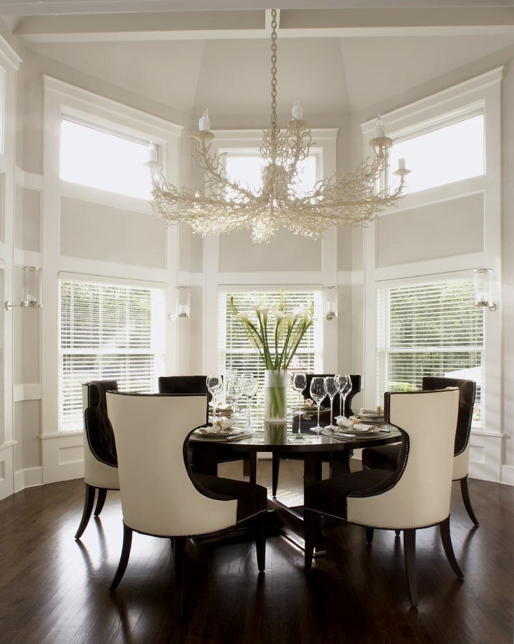 love the table and chairs...not so sure about the chandelier and wall color