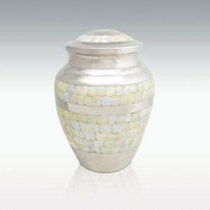 Large Brass Nickel Mother Of Pearl Pet Cremation Urn hand made from solid genuine brass with a beautiful mother of pearl inlay. This urn has a beautiful nickel mirror-like finish.