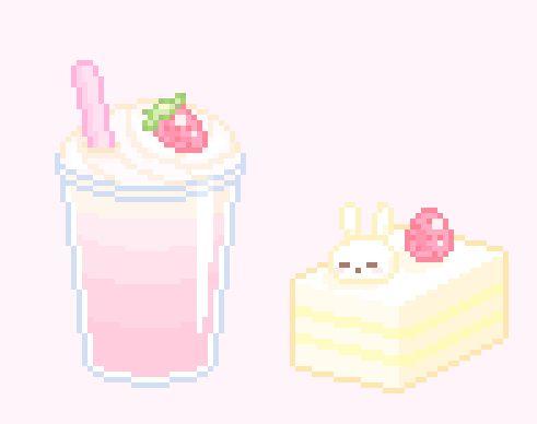 kawaii, pale pink, and pixel art image