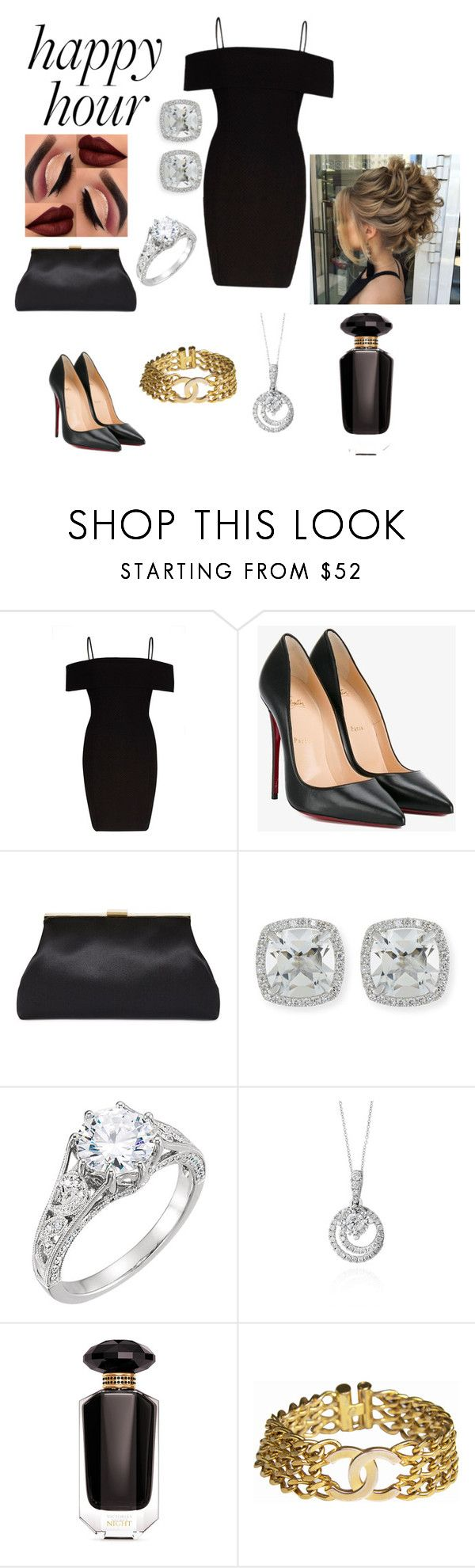 """""""little black dress"""" by achelios ❤ liked on Polyvore featuring River Island, Christian Louboutin, Frederic Sage, Effy Jewelry, Victoria's Secret and Chanel"""