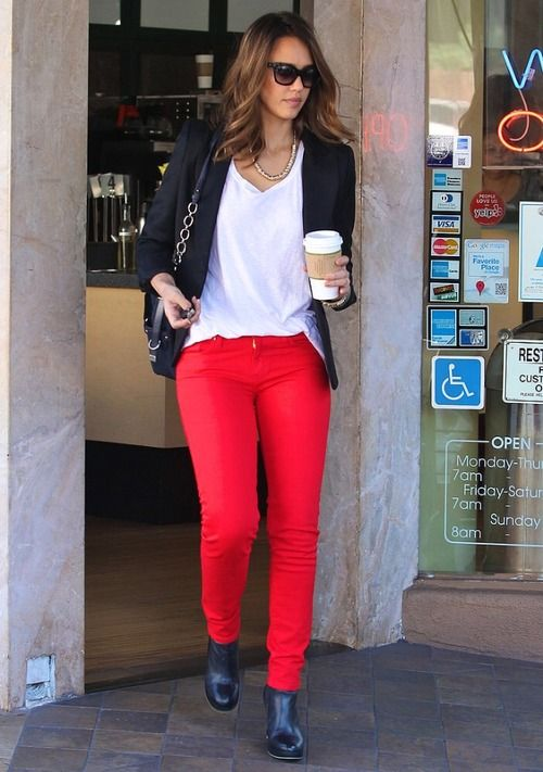 Red skinny jeans with black top