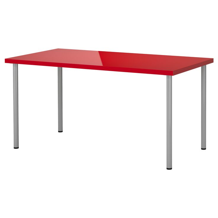 Linnmon adils table high gloss red silver color ikea for Bureau rouge