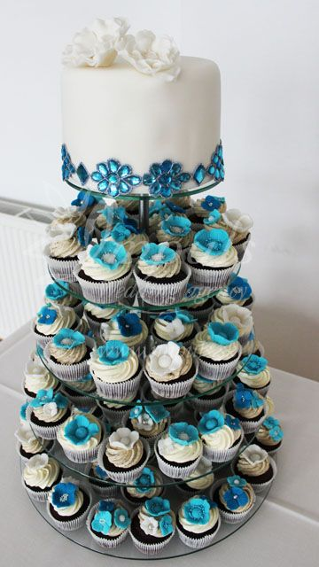Cup cake tower in blue - winter wedding like