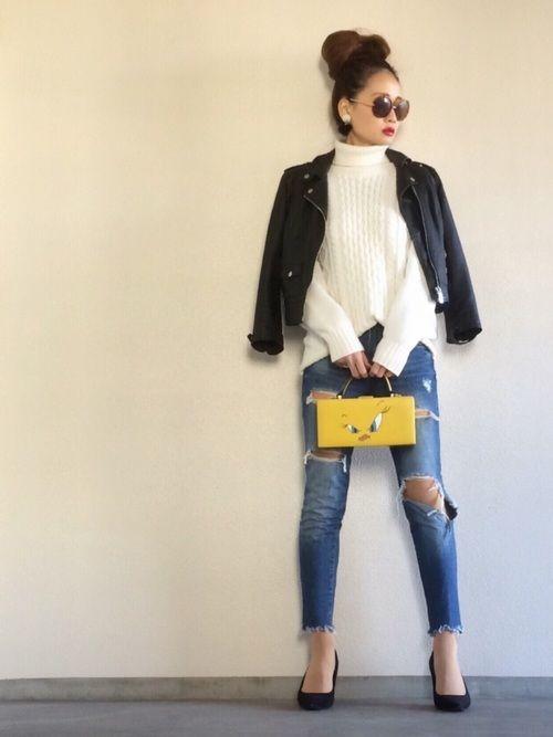 Bershkaのライダースジャケットを使ったYukie♡iのコーディネートです。WEARはモデル・俳優・ショップスタッフなどの着こなしをチェックできるファッションコーディネートサイトです。