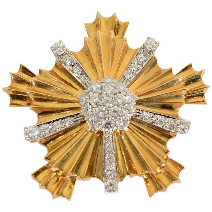 Tiffany & Co. Retro Diamond Gold Starburst brož 1