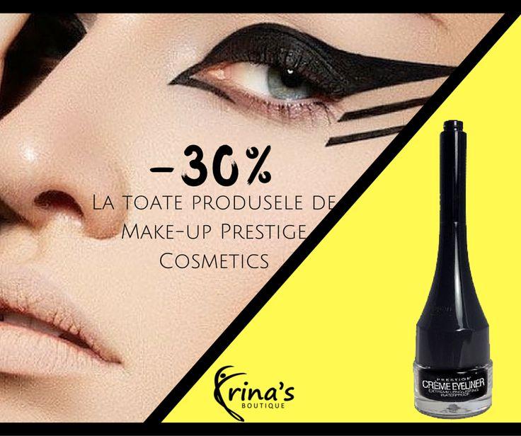 Machiajul ochilor  nu a fost niciodata mai simplu de realizat!  Eyeliner-ul Waterproof de la Prestige Cosmetics rezista pe pleoape intreaga zi, iar pensula subtire asigura o aplicare precisa si usoara.   In perioada 1-31 Iulie te bucuri de -30% DISCOUNT la toate produsele de make-up!  #irinasboutique #eyeliner #cateye #intenseblack #prestigecosmetics