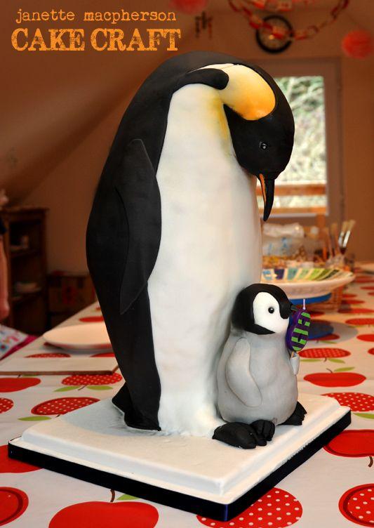 "Emperor Penguin 17"" tall - Emperor penguin cake, baby penguin too. Birthday cake for my daughter. 17"" tall!"