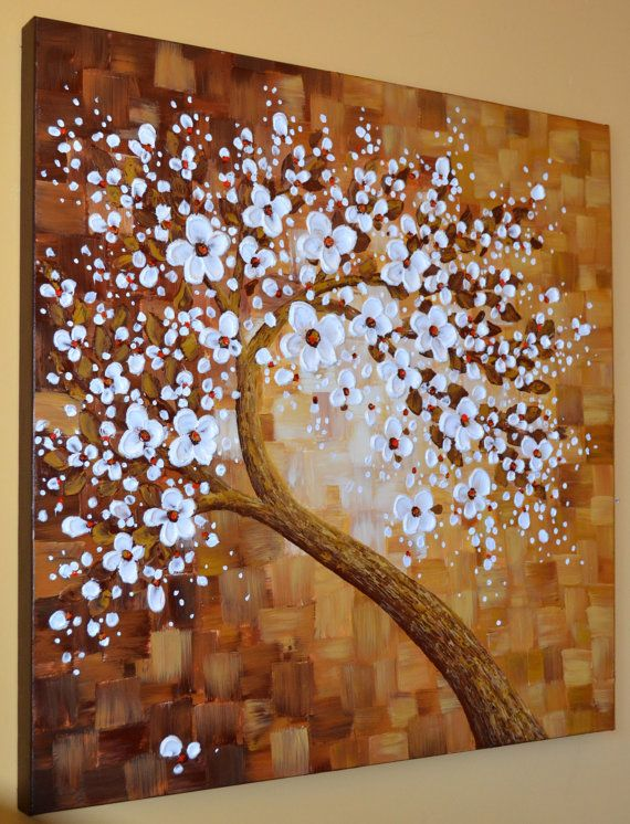 Large abstract canvas art white cherry blossom impasto palette knife painting by…