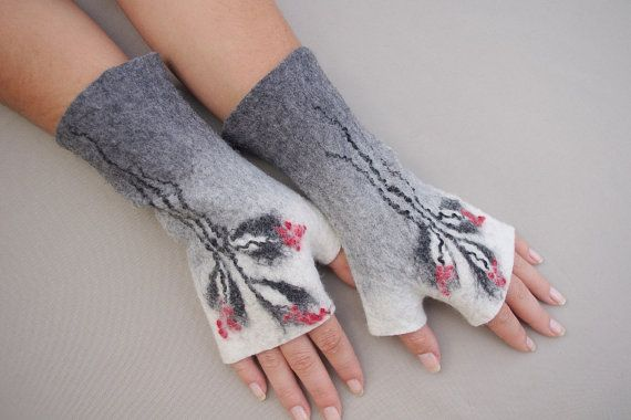 Felted Fingerless Mittens Arm warmers Gloves Grey White by LBFelt, $26.00