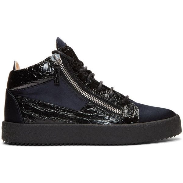 Giuseppe Zanotti Black and Navy May London High-Top Sneakers ($720) ❤ liked on Polyvore featuring men's fashion, men's shoes, men's sneakers, black, mens black high top sneakers, mens high top sneakers, mens black sneakers, mens black shoes and mens zip shoes