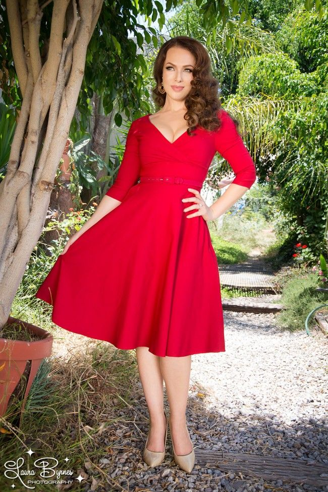 Pinup Couture Erin Swing Dress in Three-Quarter Sleeves in Red