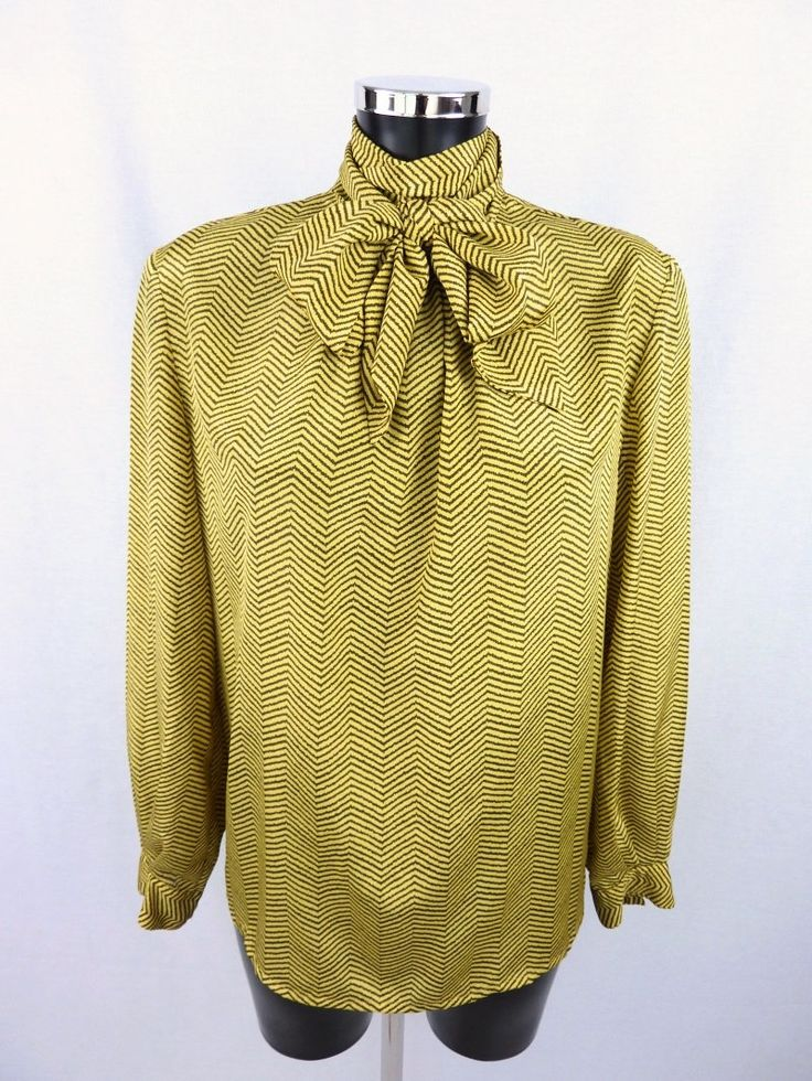 Vintage blouse - Vintage shirt - gold and black - 80s - Yellow blouse - Georges Rech Synonyme - Size L - Taille 42 FR - Free shipping Worldwide - TheNuLifeShop is on Etsy