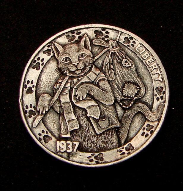 "Hobo Nickel ""Making Tracks""  Hobo Cat Kitten by Howard Thomas"