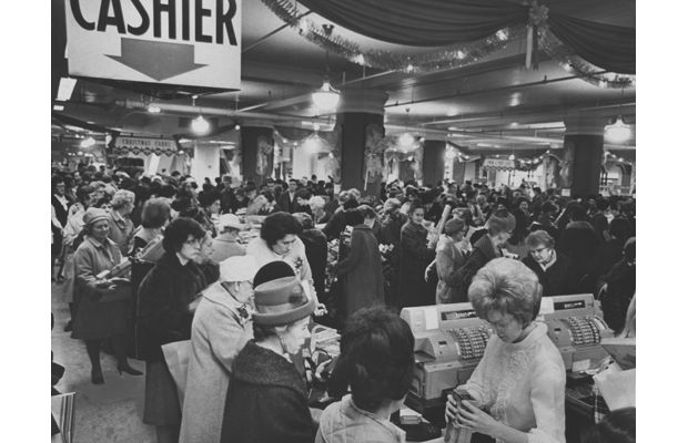 Woodward's Department Store. December 27 1967. Looking ahead a year thrifty Vancouver shoopers throng downtown department store in serach of bargains on Christmas cards and wrapping paper. Store clerks were also busy today exchanging hundreds of gifts which recipients found not quite to their taste or the wrong size.  Ken Oakes / The Vancouver Sun.