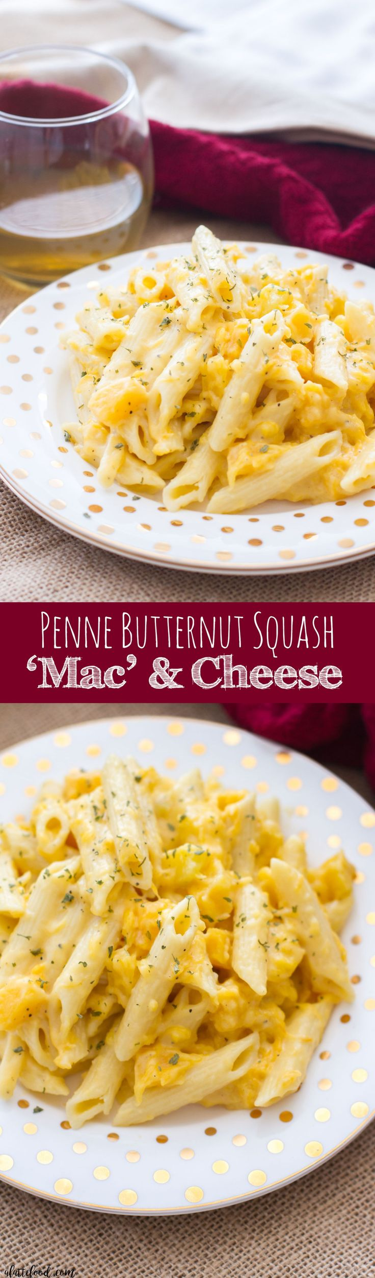 This easy stovetop mac and cheese recipe uses penne pasta, butternut squash, and sharp cheddar cheese to give the classic comfort food a fall dinner twist!