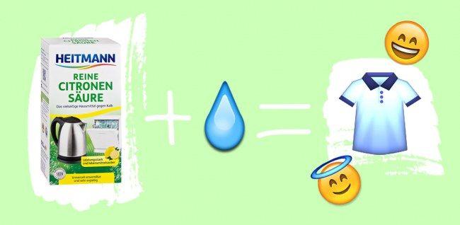 Tipps gegen Schweißgeruch: Kleidung in Wasser mit Zitronensäure einweichen