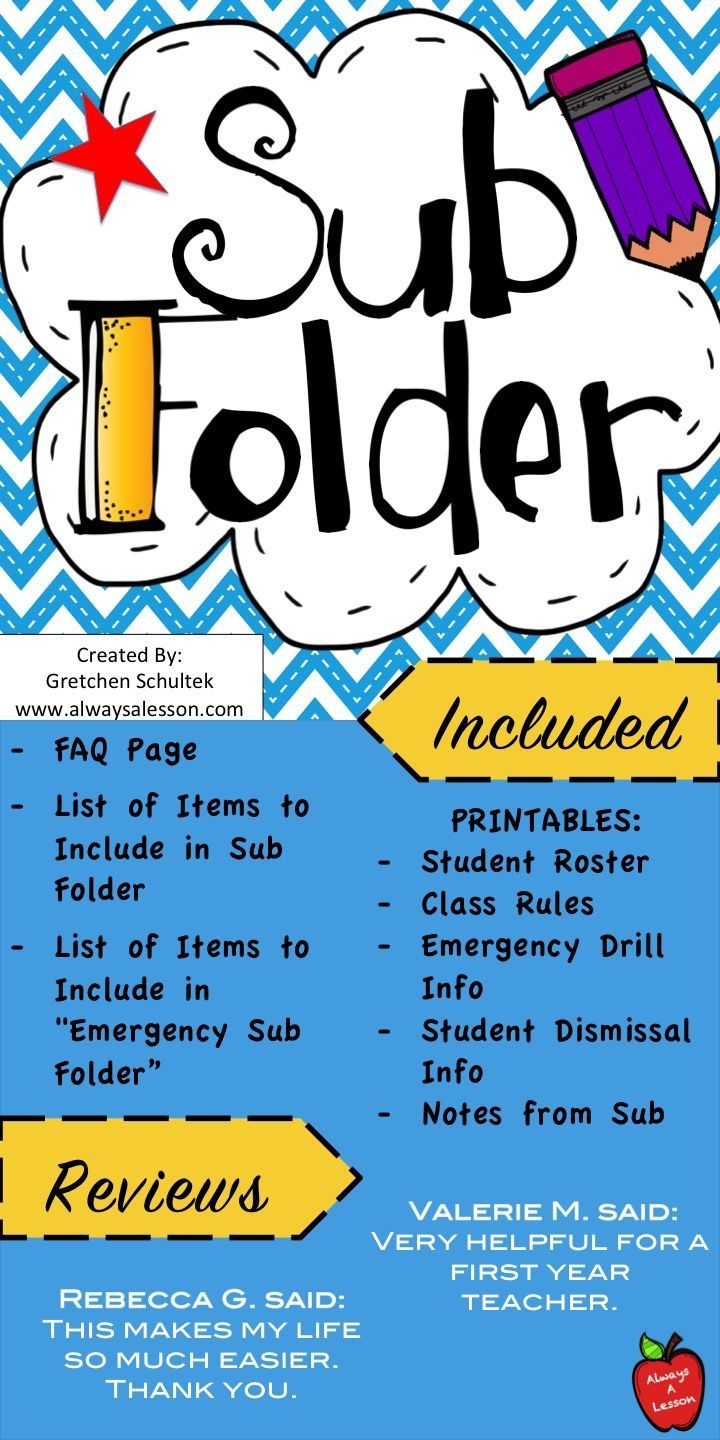 "This sub folder is helpful when a teacher has to be absent, so creating an organized resource for your substitute teacher could be helpful. Makes a great substitute (sub) binder!  This Sub folder includes:  - FAQ page - List of Items to Include in Sub Folder - List of Items to Include in ""Emergency Sub Folder""  - Printables: student roster, class rules, emergency drill info, student dismissal info, notes from sub"