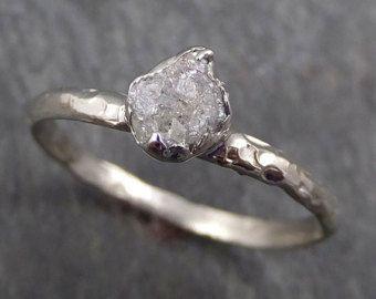 Rohe grobe Uncut Diamant Verlobungsring Rough Diamond Solitär 14k Weißgold Konflikt kostenlos Diamant Hochzeit Versprechen ByAngeline 0331