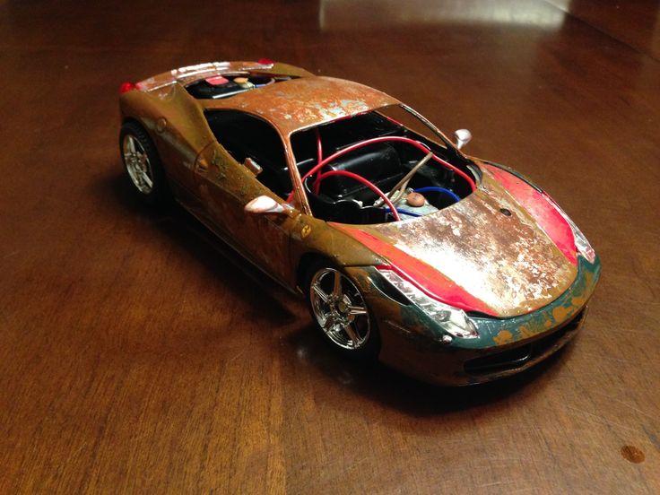 Rat look Ferrari rc car.  Making progress building layers.