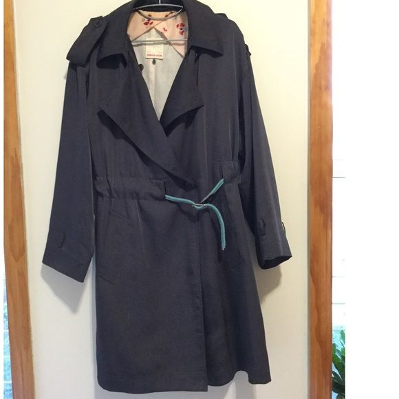 Rebecca Taylor Navy Trench Coat Navy Rebecca Taylor lightweight trench coat. Fits loose and is perfect for spring coverage. Inner print pattern on silk fabric is bonus pretty for your day, and looks amazing when the sleeves are rolled up. Including turquoise rope belt I've been using to style it and cinch the waist for more structure. Needs quick stitches to secure epaulet on shoulder (or a safety pin... voilà!). Rebecca Taylor Jackets & Coats
