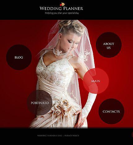 Velvet Red Wedding Planner Web Design Template. #wedding #weddingdress #weddingplanner