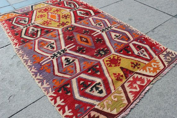 4x3 ft antique kilim rug, rug, Anatalion motives Decorative Rug for Home and Office Handmade Tribal Kilim Rug 4'11''x 3' / 150x95cm