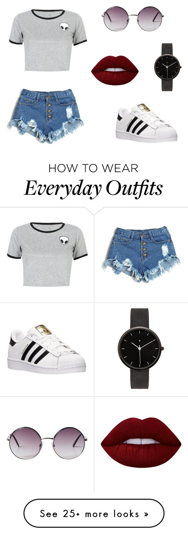 """This is a everyday outfit I would wear down the street!!"" by mirandamillerr on Polyvore featuring WithChic, adidas, Monki, I Love Ugly and Lime Crime"