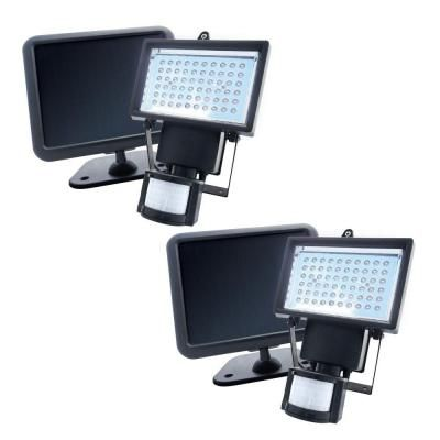 Nature Power 180 Degree Outdoor Solar Powered Motion Activated 60 LED Black Security Light (2-Pack)-22052 at The Home Depot