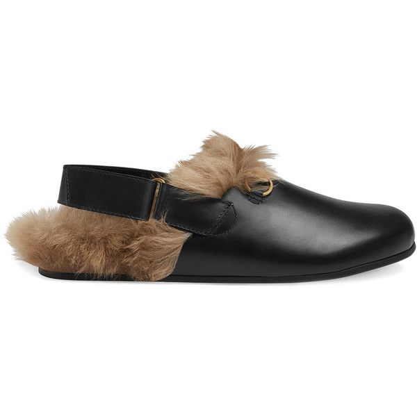Gucci Horsebit slippers ($890) ❤ liked on Polyvore featuring men's fashion, men's shoes, men's slippers, black, mens black shoes, mens wide shoes, mens leather slippers, mens black slippers and mens black leather shoes
