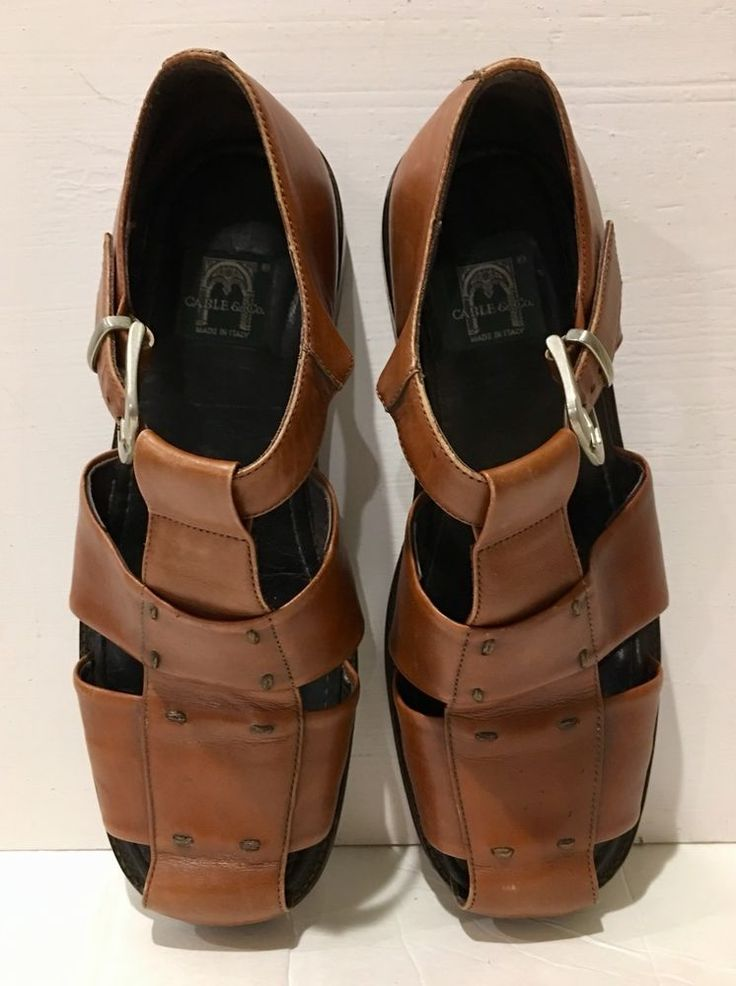 CABLE & CO Mens Brown Leather Shoes Size 10.5 Strappy Light Brown MADE IN ITALY  | eBay
