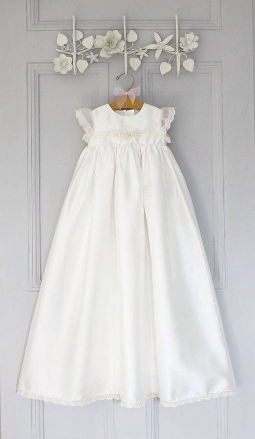 Baptism gown with lace sleeves