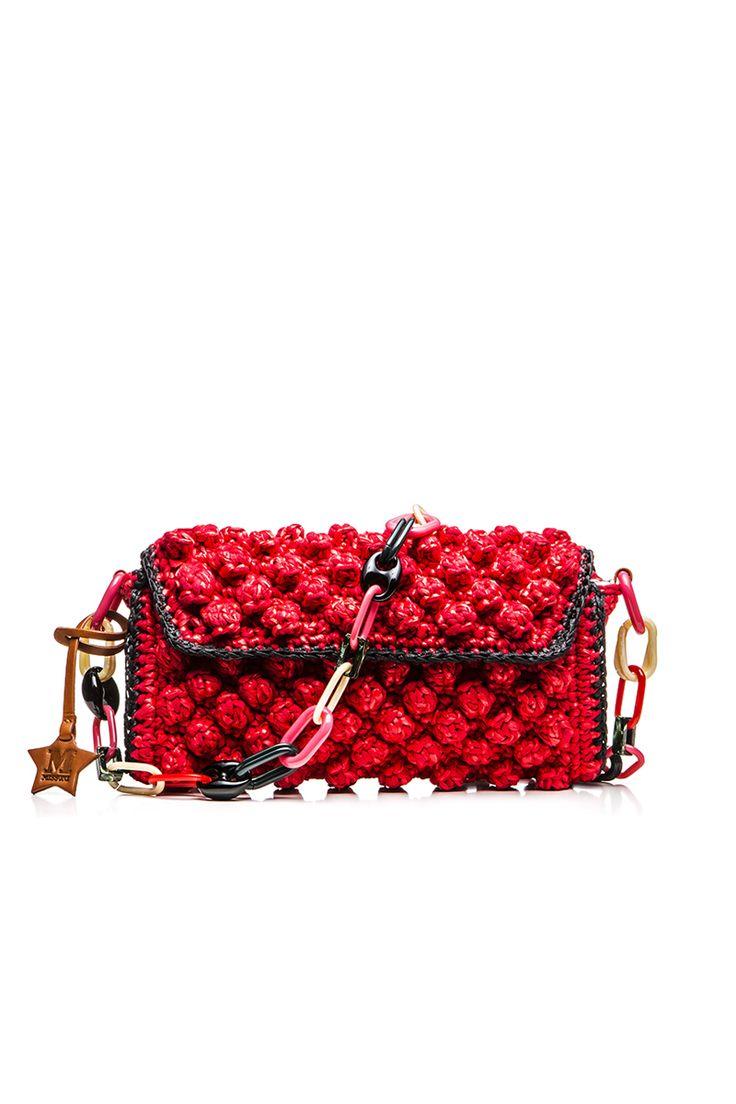 M-Missoni - RED RAFFIA SHOULDER BAG