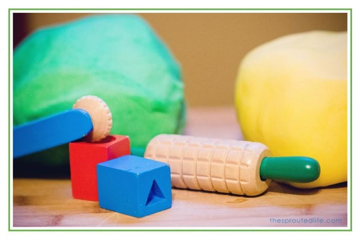 Gluten-free playdough made with white rice flour and cornstarch - or use arrowroot for kids with corn allergies.