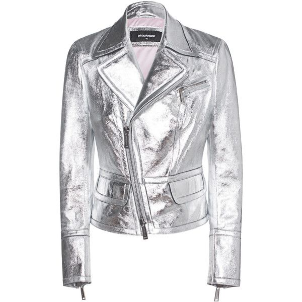 DSQUARED2 Shine Silver Leather // Leather jacket in metallic look (£925) ❤ liked on Polyvore featuring outerwear, jackets, slim leather jacket, short leather jacket, cropped leather jacket, asymmetrical leather jackets and metallic jacket