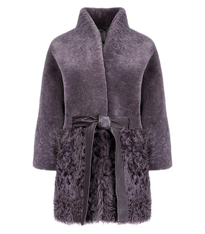 Утепленный жакет из овчины с отделкой мехом козлика Virtuale Fur Collection 182505000, заказать в интернет магазине с доставкой, цена с фото в Москве