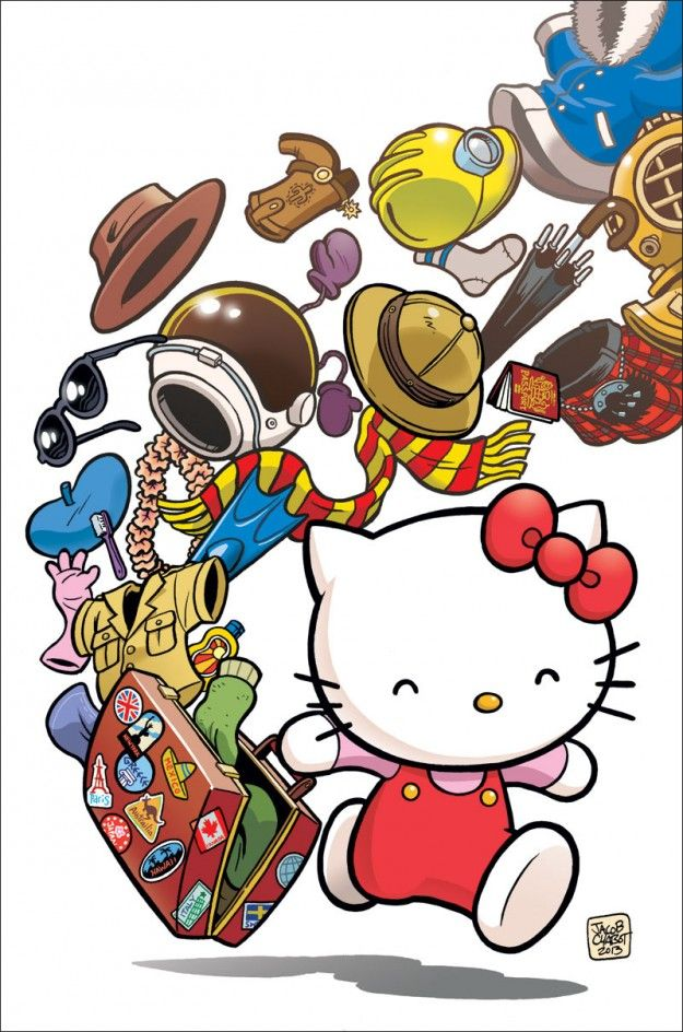 Hello Kitty comic cover art by Eisner-nominated artist, Jacob Chabot.    Can Hello Kitty help to save the comic book industry even more? My thoughts at: http://www.mangatherapy.com/post/43000577755/hello-kitty-viz-media-minimalism-saving-comics