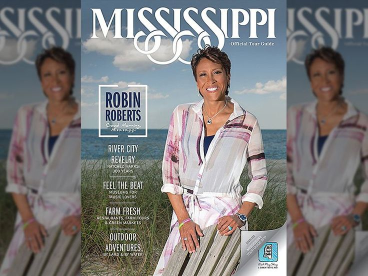 Lesbian Journalist Robin Roberts is the cover model on the official Mississippi visitor guide!  Yikes
