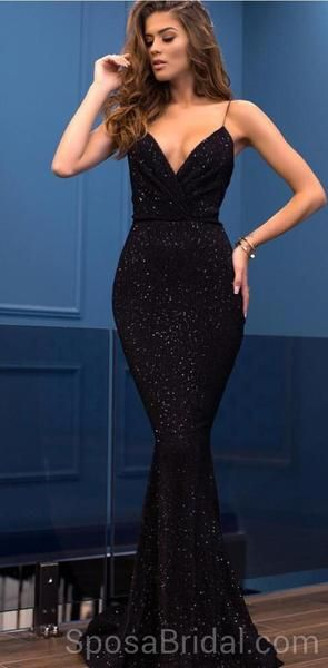 Spaghetti Straps Mermaid V -Neck Custom Long Elegant Sequin Fashion Prom Dresses, PD1214 Spaghetti Straps Mermaid V -Neck Custom Long Elegant Sequin Fashion Prom Dresses, PD1214