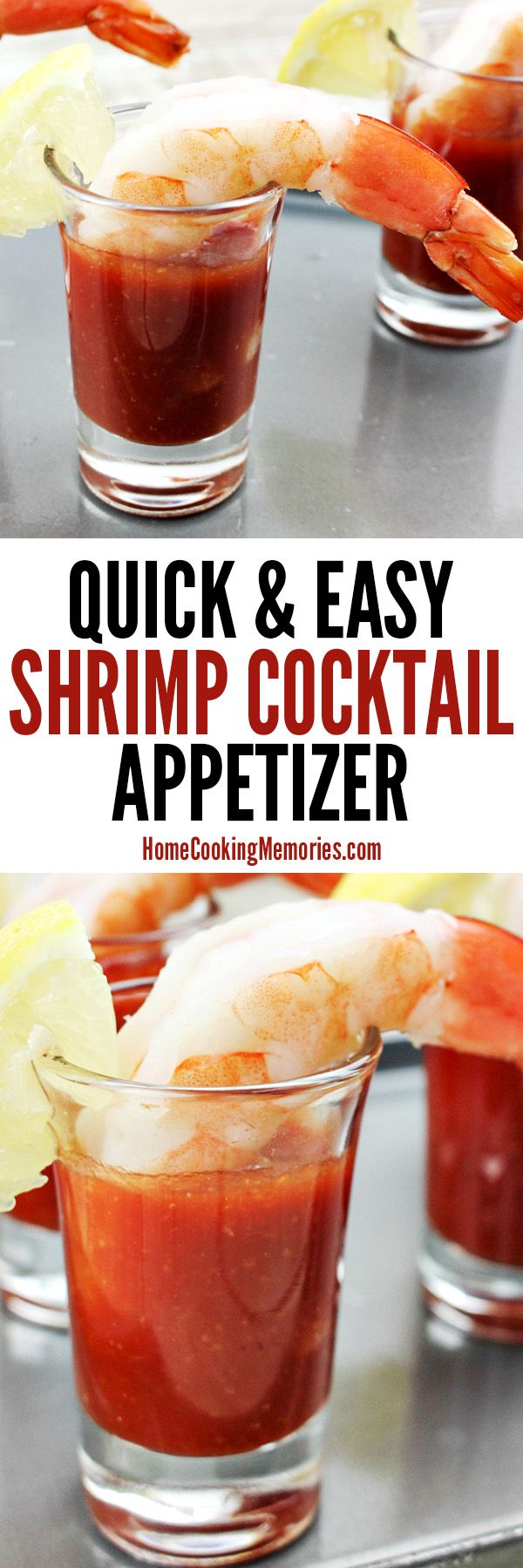 This Easy Shrimp Cocktail Appetizer Recipe is not only simple to make, but it's also low in fat & calories. Elegant enough for formal gatherings, but also a favorite at casual parties or even game day. You'll need: small serving glasses, jumbo shrimp, lemon, a bay leaf, salt, and cocktail sauce.