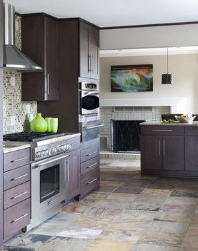 Backsplash ideas: small slate tiles with light countertop to go with dark cherry cabinets and slate tile floor (plus the bright green for the walls)