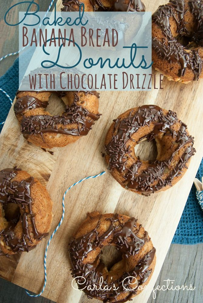 Baked Banana Bread Donuts (Donut Fridays!) from www.carlasconfections.com #donuts #chocolate #recipe