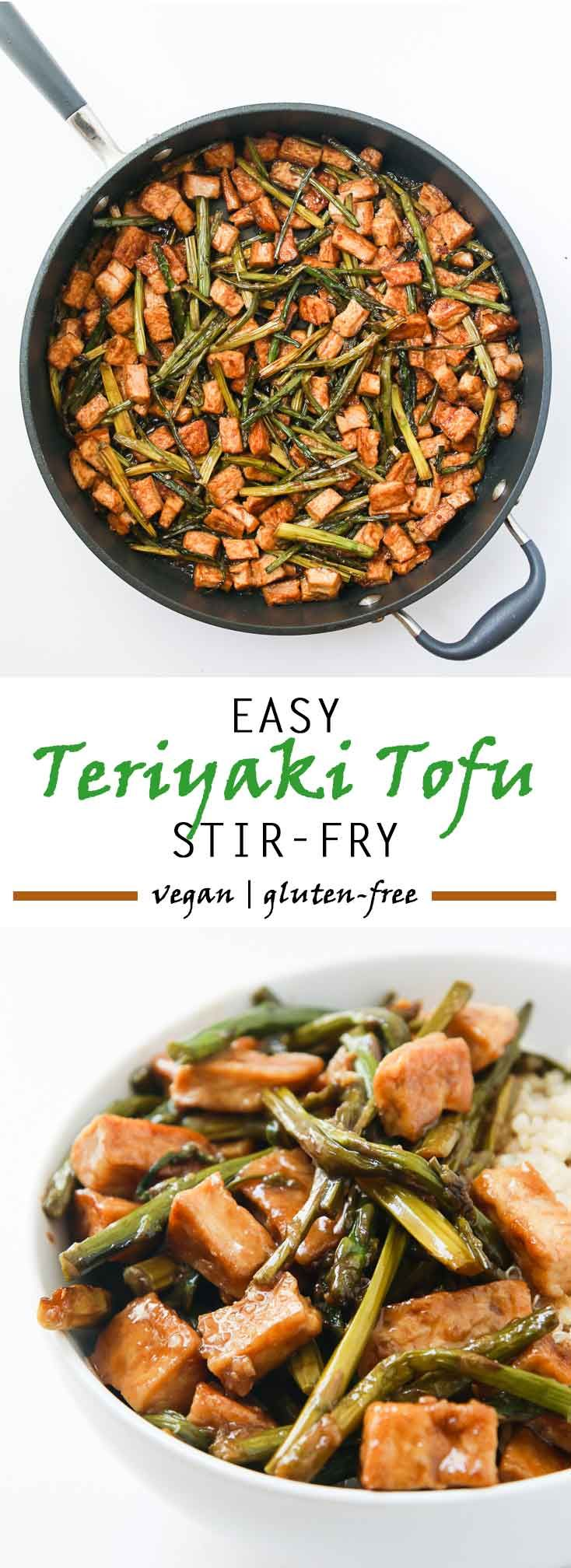 Easy Teriyaki Tofu Stir Fry with Asparagus #vegan #glutenfree | Vegetarian Gastronomy | www.vegetariangastronomy.com