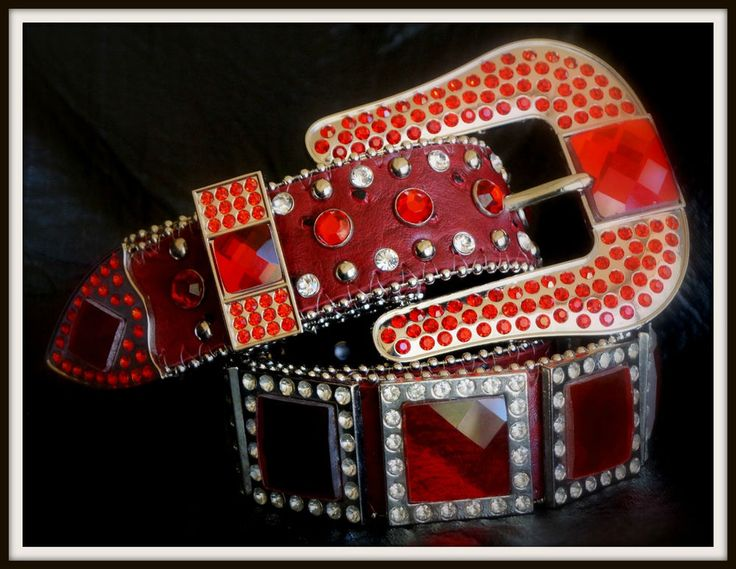 Ladies Red Leather Western Rhinestone Conchos Blinging Cowgirl Belt - Buckle